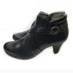 Born Black Leather Cross Ankle Booties